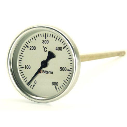 Bimetál kemence hőmérő 0-600°C védőcső nélkül, 6 cm