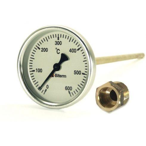 Bimetál kemence hőmérő 0-600°C védőcsővel, 6 cm