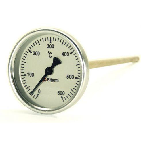 Bimetál kemence hőmérő 0-600°C védőcső nélkül, 30 cm