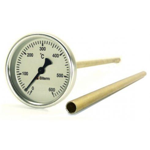 Bimetál kemence hőmérő 0-600°C védőcsővel, 30 cm