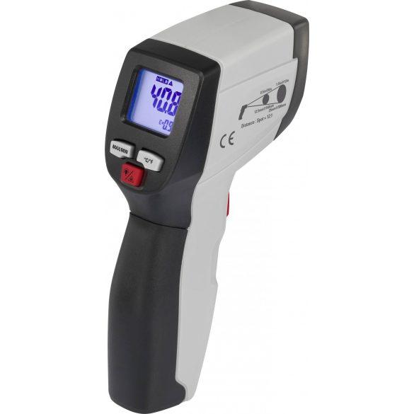 Infra hőmérő, kemence hőmérő -50 °C-tól +550 °C-ig, 12 : 1 optika, kemence és más érintés nélküli gyors mérésekhez