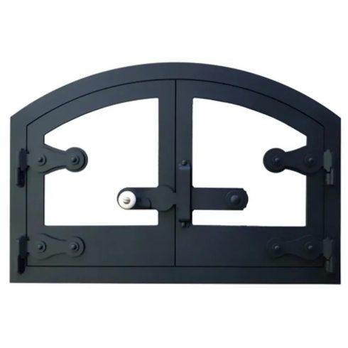 Üvegezett kemence ajtó íves 60x40 cm, tévő nélkül
