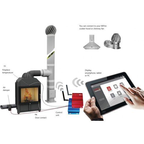 WiFire égésvezérlő automatika - mobiltelefonról kezelhető 150 mm