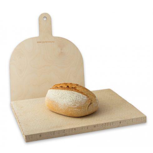 Pizzakő, kenyérsütő lap 36x30x2,5 cm + pizzalapát